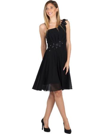 970e47b4d1e0 Midi Φόρεμα Zορζέτα με Ανάγλυφα Λουλούδια Μαύρο - Μαύρο