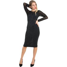 fd7c90dd9bda Γυναικείο μαύρο μακρυμάνικο φόρεμα Lurex διαφάνεια 8486195
