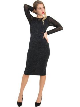 ff755a7f2b ...μαύρο μακρυμάνικο φόρεμα Lurex διαφάνεια.