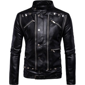 ea64388344 Fashion Men Multi Zippers Leather Classic Rivets Punk Leather Motorcycle  Biker Jacket