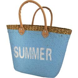 7c140f1b9f Ψάθινη Τσάντα Παραλίας Θαλάσσης με Δερμάτινα λουράκια 40x28x14cm με λεκτικό   Summer  02347 Χρώμα Μπλε