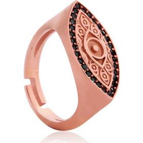 Ασημένιο Δαχτυλίδι Σεβαλιέ One Size με σχέδιο Μάτι Επιχρυσωμένο με Ροζ Χρυσό  και Μαύρα Ζιργκόν 9086dcdbc38