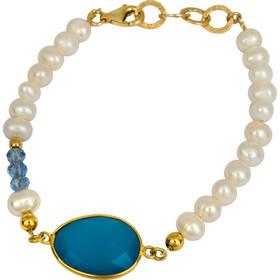 Μαργαριταρένιο βραχιόλι με μπλε πέτρα 925 022992 022992 Ασήμι 7688f120b85