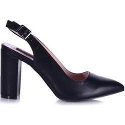 f4a2bddd796 Γόβες μαύρες δερματίνη με άνοιγμα στο πίσω μέρος και χοντρό τακούνι  341706bl. Tsoukalas Shoes