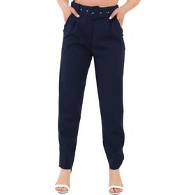 9043835a6755 Γυναικείο μπλε υφασμάτινο παντελόνι με ζώνη 18178M