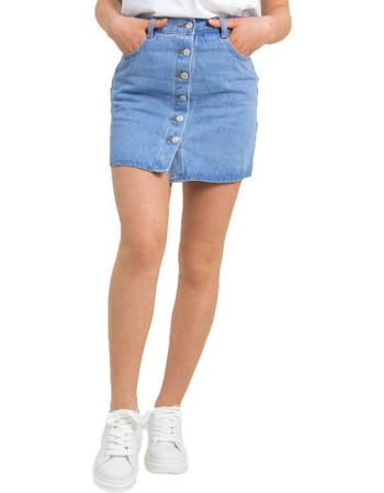 ba4f22c40af3 Γυναικεία μπλε χλώριο τζιν φούστα κουμπιά ITA948C