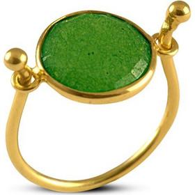 Δαχτυλίδι από επιχρυσωμένο ασήμι με γνήσιο ορυκτό σμαράγδι 0a23b3f859d