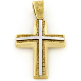 Σταυρός χρυσός και λευκόχρυσός 14 καράτια χειροποίητος 2e4e0efc4fd