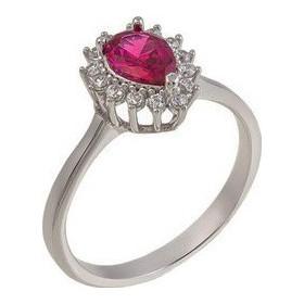 Λευκόχρυσο γυναικείο δαχτυλίδι ροζέτα με κόκκινη πέτρα 14 καρατίων 529ROT 9f5ce0eb2bc