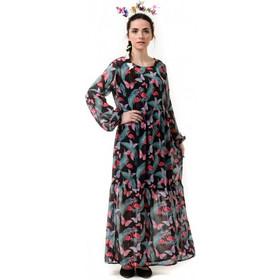 1cacb969795e Μαύρο Φόρεμα Μακρύ με Φλαμίνγκο   Πεταλούδες