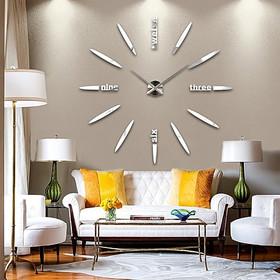 Μεγάλο Ρολόι Τοίχου 3D Stickers Mirror FAS1 Modern DIY Large Wall Clock  Silver Plexiglass -Do a4a21bfbd75