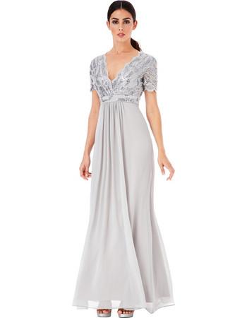 b64ed3bb8f8d shinny paillette top αέρινο silver γκρι φόρεμα Daphne