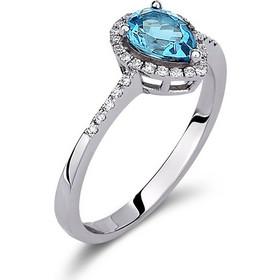 Δαχτυλίδι ροζέτα σε σχήμα δάκρυ από λευκό χρυσό 18 καρατίων με μπλε τοπάζι  στο κέντρο και cef34dd5abf