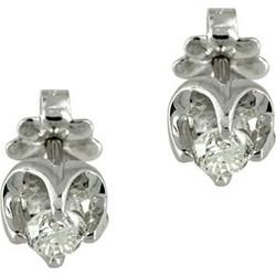 Λευκόχρυσα Μονόπετρα Σκουλαρίκια K18 με Διαμάντια Brilliant EO0212 519fec859db