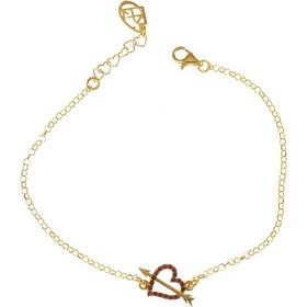 Βραχιόλι καρδιά με βέλος από επιχρυσωμένο ασήμι με πέτρες swarovski 75ad0c31550
