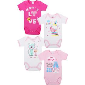 b3437e4dd57 Φανελάκια βρεφικά κοριτσιών MOM'S LOVE Minerva 4 τεμάχια (30452) Λευκό-ροζ- φουξ
