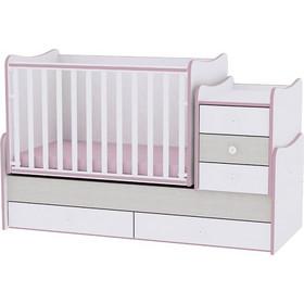 1a9f5541b7e Bertoni Lorelli Maxi Plus Πολυμορφικό κρεβάτι Κούνια - White Pink Crossline  (10150300032A)