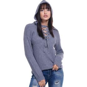 6ffc5eda46f1 Γυναικείο πουλόβερ gsecret με κορδόνια   κουκούλα.Casual style. ΓΚΡΙ