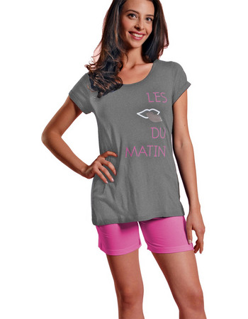 Ogham γυναικεία καλοκαιρινή πυτζάμα γκρι μελανζέ μπλούζα με φούξια σορτσάκι  6517 e6493d89bb8