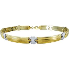 Χρυσό Ανδρικό Βραχιόλι-Χειροπέδα με Λευκόχρυσες Λεπτομέρειες Κ14 AVR101 6123f70dd17