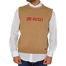 fbedd663458b Ανδρική αμάνικη πλεκτή μπλούζα μπεζ με τύπωμα 78964C