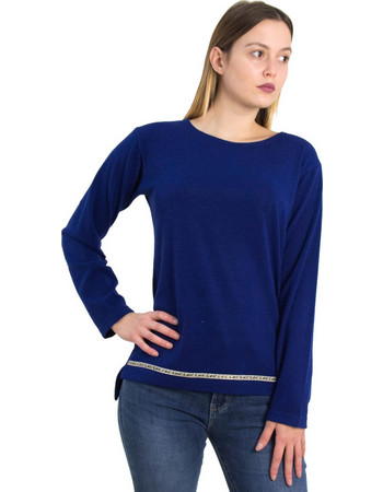 Γυναικεία μπλε πλεκτή μακρυμάνικη μπλούζα 1176055L dead0484c49
