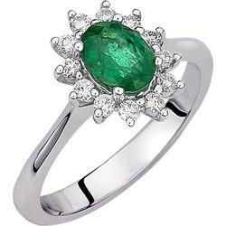 Λευκόχρυσο δαχτυλίδι Κ18 με brilliant και ορυκτό σμαράγδι DBR124A ee94b325e30
