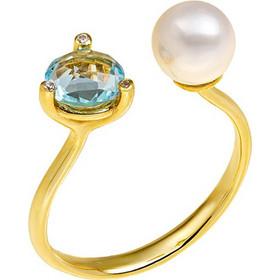Δαχτυλίδι από χρυσό 14 καρατίων με μαργαριτάρι και ορυκτό μπλε τοπάζι.  ZH21542 9f91cbc4c33