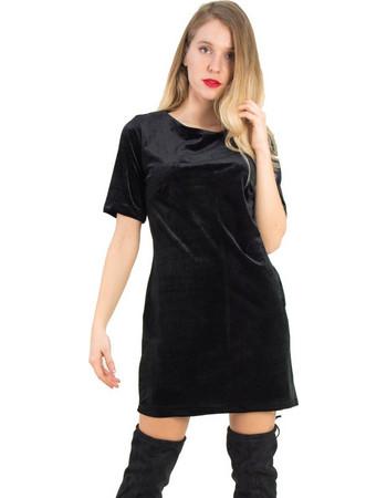b6ac860e2141 Γυναικείο μαύρο βελούδινο φόρεμα χαμόγελο Coocu 91869