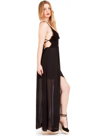 13e542fcaead Μαύρο Maxi Φόρεμα με Δαντέλα Κιπούρ Μαύρο Silia D