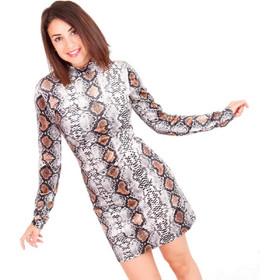 b9642013cf94 Καφέ Φίδι Μακρυμάνικο Βελούδινο Mini Φόρεμα Καφέ Silia D