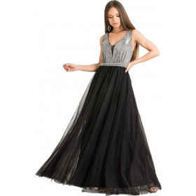 df84978f50be F9228 Φόρεμα με Glitter και Τούλι - ΜΑΥΡΟ 18247