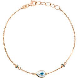 Βραχιόλι από ροζ χρυσό 18 καρατίων με ματάκι σε σχήμα δάκρυ και στοιχεία με μπλε  διαμάντια 31064976d39