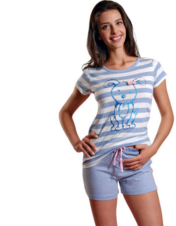 Ogham γυναικεία σιελ καλοκαιρινή πυτζάμα ριγέ μπλούζα με σκύλο και  μονόχρωμο σορτσάκι 6513 b8bd0370c4f