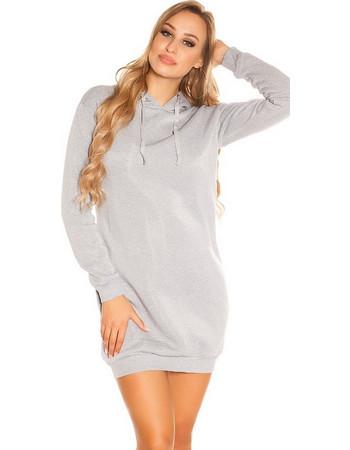 41919 FS Μακριά φούτερ μπλούζα Μίνι φόρεμα με κουκούλα - Γκρί 5f03f77a1fa