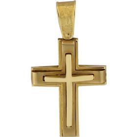 Σταυρός χρυσός 14 καράτια σκέτος χειροποίητος 49237ea5436