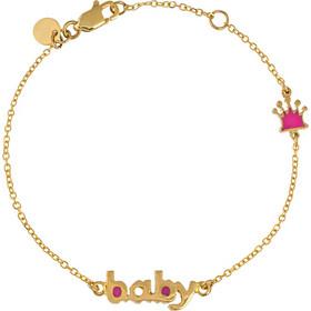 Βραχιόλι παιδικό από χρυσό 14 καρατίων με κορώνα διπλής όψεως και την λέξη  baby. PU16461 d1565e7635d
