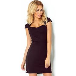 Κομψό μίνι φόρεμα ντεκολτέ με κοντό μανίκι-Black f0d96618e3f