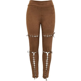 e5267b1af268 Women Fashion Sexy Belt Eyelet Buckle Suede Casual Trousers Small Feet  Tight Pants