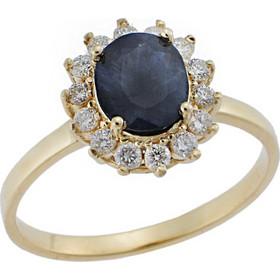 Ροζέτα Δαχτυλίδι με Διαμάντια και Ζαφείρι 18Κ σε Κίτρινο Χρυσό b1af1e93f1b