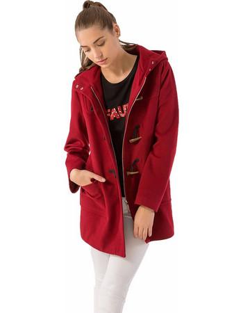 Παλτό σε στυλ μοντγκόμερι με κουκούλα και φερμουάρ - Μπορντώ 6aa7af7d6e5
