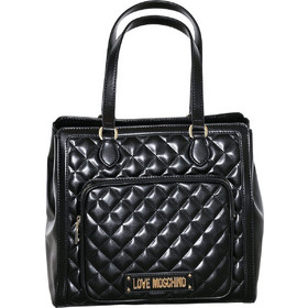 Love Moschino γυναικεία τσάντα ώμου καπιτονέ με μεταλλικό λογότυπο -  JC4001PP17LA0 - Μαύρο d4c0d173d82