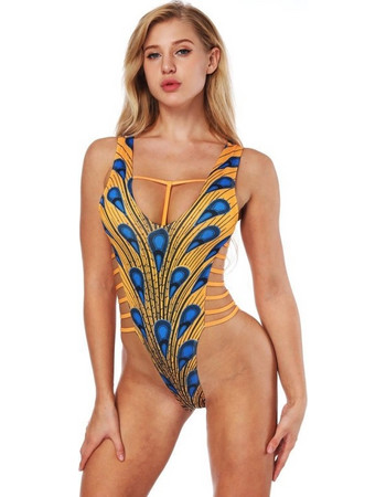 Women Sexy Tight Sling Feather Printing Backless Bikini Conjoined  Swimsuits a3daaa747be