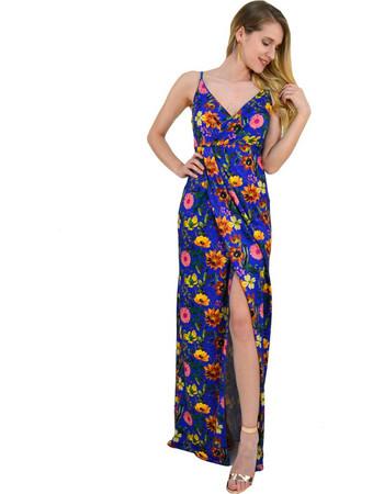 Γυναικείο μάξι φόρεμα κρουαζέ εμπριμέ σκίσιμο μπλε 8169239Q a1c822aab45