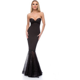 507482c84ed4 9265 RO Μάξι στράπλες γοργονέ φόρεμα με glitter - Μαύρο