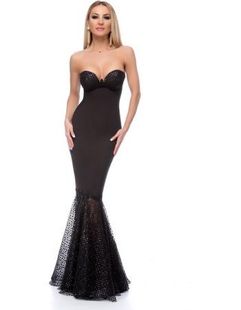 9265 RO Μάξι στράπλες γοργονέ φόρεμα με glitter - Μαύρο c3980604ded
