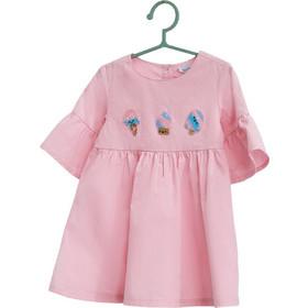 7874321a39ec Βρεφικό φόρεμα μονόχρωμο με βολάν και print παγωτά OVS - 000216949 - Ροζ