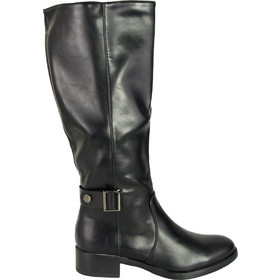Γυναικείες μαύρες μπότες ιππασίας δερματίνη DM9069 ee9829068c1