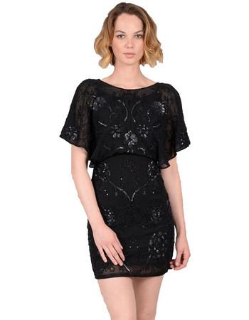 5a496188d44c Molly Bracken γυναικείο μίνι φόρεμα κοντομάνικο με παγέτες - W18MB-W619 -  Μαύρο