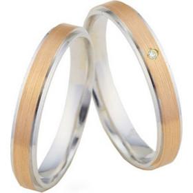 Βέρα γάμου από λευκό και ροζ χρυσό 14 καρατίων με φάρδος 3mm. VV024 6a2f4cb8207